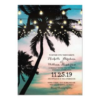 Vintage Beach Palm Tree Twinkle Lights Wedding Invitation