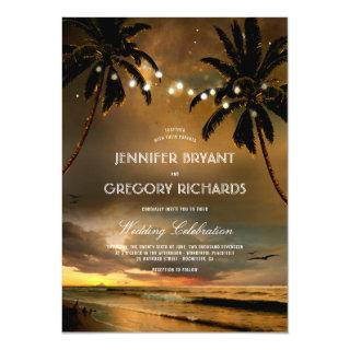 Vintage Beach Sunset | String Lights Palms Wedding Invitations