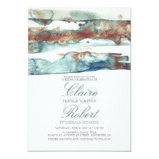 Vintage Beach Underwater Watercolor Splash Wedding Invitations