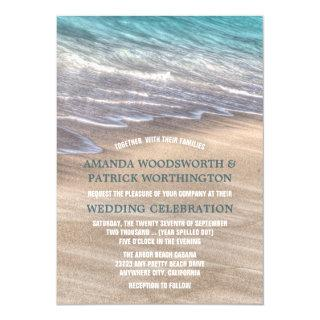Vintage Beach Waves and Sand Wedding Invitations