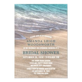 Vintage Beach Waves Sand Bridal Shower Invitations