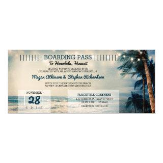 Vintage Beach Wedding Boarding Pass Ticket Wedding Invitations