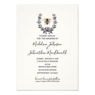 vintage bee SPRING GARDEN WEDDING plum yellow Invitations