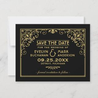 Vintage Black and Gold Art Deco Wedding Save The Date