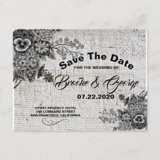 Vintage Black/Grey Flowers Save The Date Card