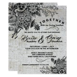 Vintage Black & Grey Flowers Wedding Invitations
