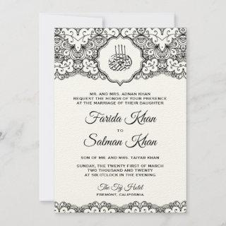 Vintage Black Lace Felt Ecru Islamic Wedding Invitations