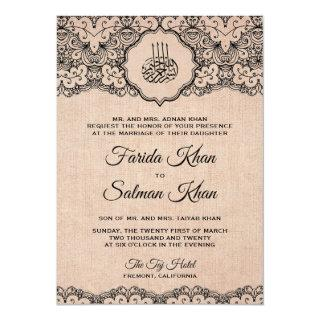 Vintage Black Lace Rustic Burlap Islamic Wedding Invitations