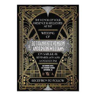 Vintage Black Silver Art Deco Wedding Invitations