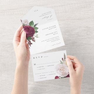 Vintage blooms All in One Wedding Invite