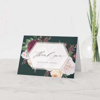 Vintage blooms floral wedding photo thank you card