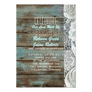 vintage blue barn wood lace country wedding invitation