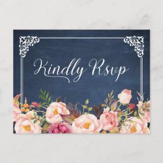 Vintage Blue Chalkboard Floral Wedding RSVP Invitations Postcard