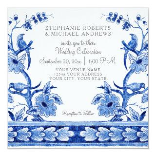 Vintage Blue Chinoiserie Asian Floral Watercolor Invitations