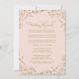 Vintage Blush and Antique Gold Wedding Rehearsal Invitations