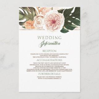Vintage Boho Tropical Wedding Information Enclosure Card