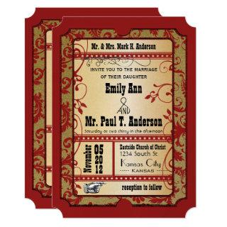 Vintage Broadway Red and Gold Movie Ticket Wedding Invitations