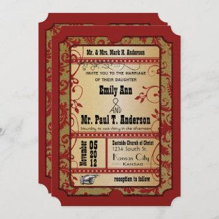 Vintage Broadway Red and Gold Movie Ticket Wedding