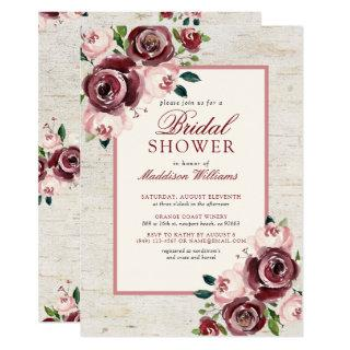 Vintage Burgundy Blush Floral Birch Bridal Shower Invitation