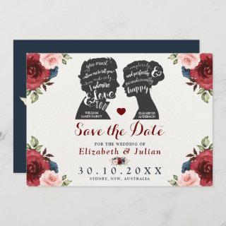 Vintage Burgundy Navy Floral Quotes Save the Date Invitations