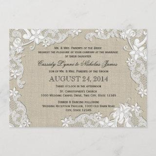 Vintage Burlap and White Lace Wedding Invitation