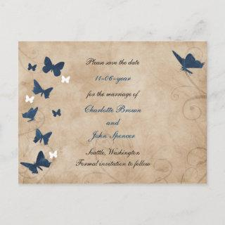 vintage butterfly wedding save the date announcement postcard