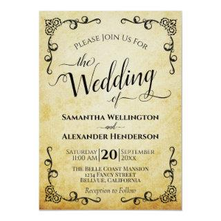Vintage Calligraphy Faux Parchment Elegant Wedding Invitations