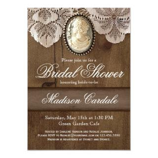 Vintage Cameo Brooch Lace Bridal Shower Invites