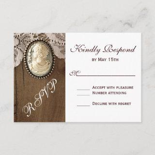 Vintage Cameo Brooch Lace Wood Wedding RSVP Cards