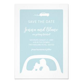 Vintage Car and Newlyweds Kissing Save the Date Invitation