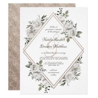 Vintage Cherish Rose Gold Double Diamond Wedding Invitations