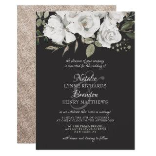 Vintage Cherish White Floral & Rose Gold Wedding Invitations