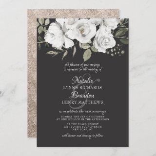 Vintage Cherish White Floral & Rose Gold Wedding Invitation