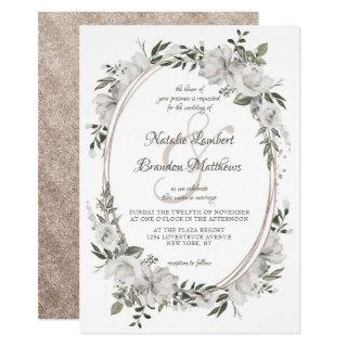 Vintage Cherish White Floral & Roses Oval Wedding Invitations