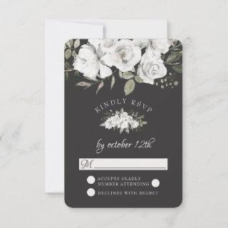 Vintage Cherish White Floral Wedding RSVP Reply