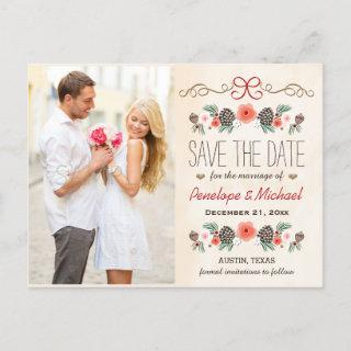 Vintage Christmas Pine Cone Save the Date Announcement Postcard
