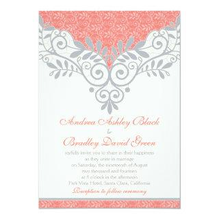 Vintage Coral Silver Grey Lace Wedding Invitation