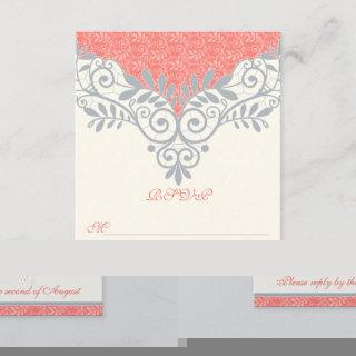 Vintage Coral Silver Grey Lace Wedding RSVP Reply