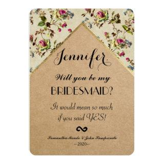Vintage Country Floral & Gold Trim Recycled Paper Invitations