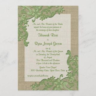 Vintage Country Lace Design and Burlap Green Invitation
