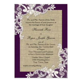 Vintage Country Lace Design and Burlap Purple Invitations