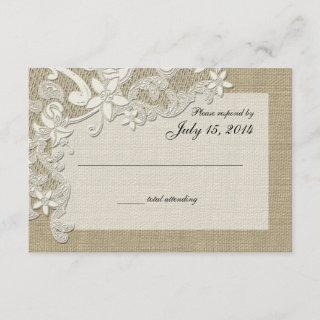 Vintage Country Lace Design and Burlap RSVP Card