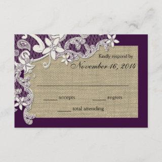 Vintage Country Lace Design Response Card