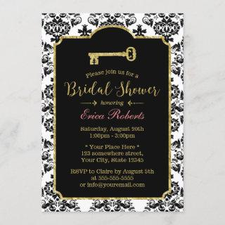 Vintage Damask Gold Skeleton Key Bridal Shower Invitations