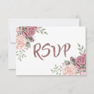 Vintage Dusty Rose Watercolour Flower Bouquet RSVP Card
