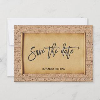 Vintage Egyptian Papyrus Wedding Save The Date