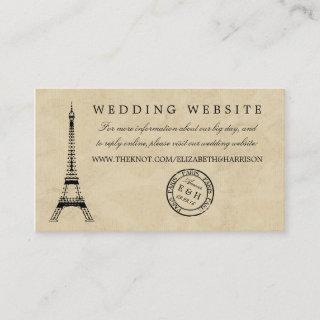 Vintage Eiffel Tower Paris Postmark Wedding Enclosure Card
