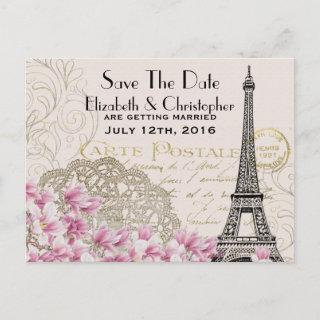 Vintage Eiffel Tower Parisian Style Save The Date Announcement Postcard
