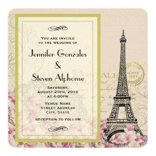 Vintage Eiffel Tower with Pink Wildflowers Wedding Invitations