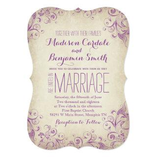 Vintage Elegant Purple Flourish Wedding Invitations